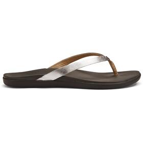 OluKai Ho'opio Leather Sandals Women Silver/Charcoal